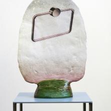 Bonus 13, 2019, Céramique émaillée, transfert, 34 x 47 x 2-10 cm (recto)