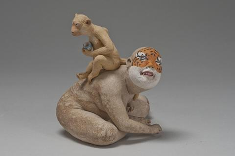 "Esther Shimazu, Monkey on the back of tiger, 6"" x 8.5"" x 5"" - 2011"